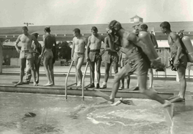 pool at the Underwater Swimmer School circa 1954