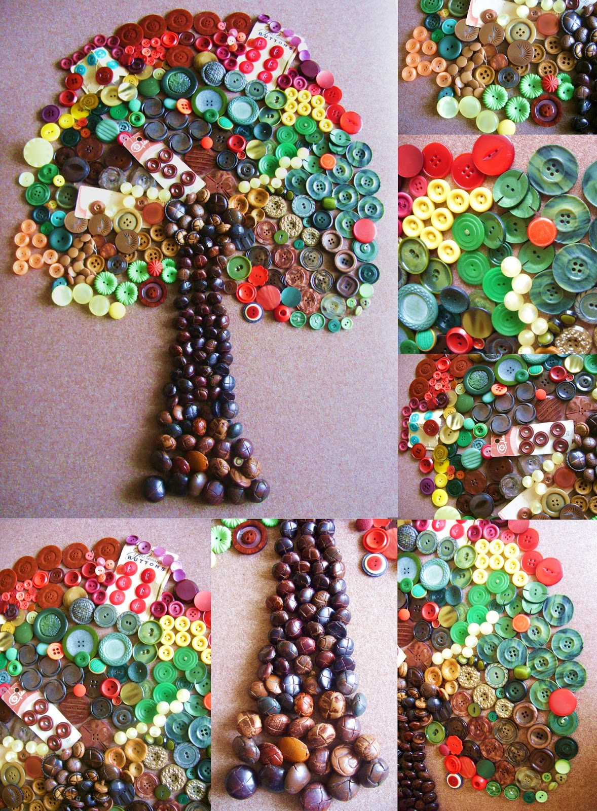 50 button crafts idea 13 button family tree telling for Arbol de navidad mural